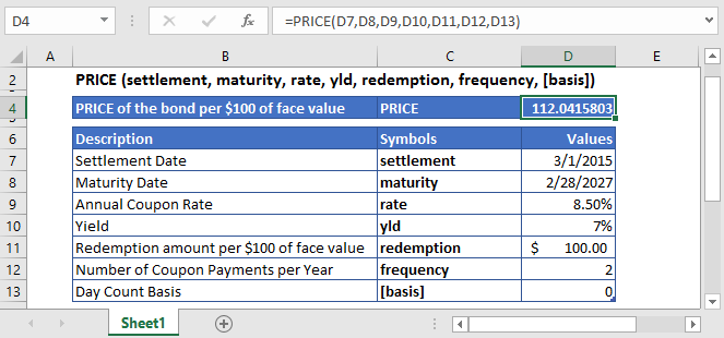 Excel Function PRICE
