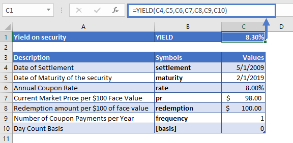 Excel YIELD Function Example 2