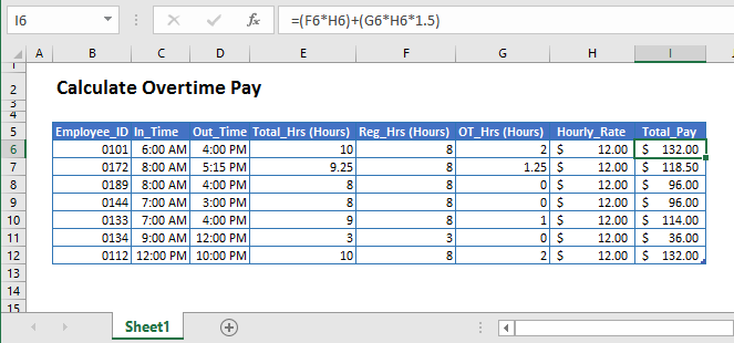 Calculate Overtime in Excel & Google Sheets - Automate Excel