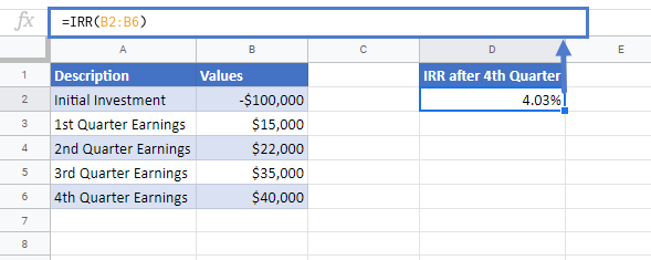 IRR Function Google Sheets