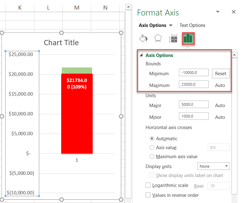 Modifying the primary axis scale ranges in Excel