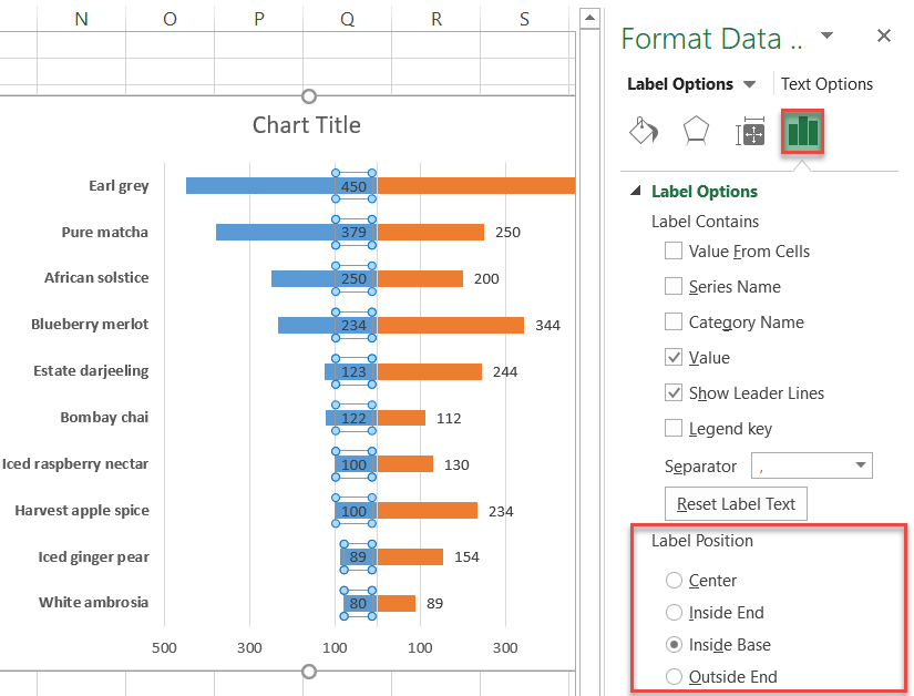 Moving data labels to the center in Excel