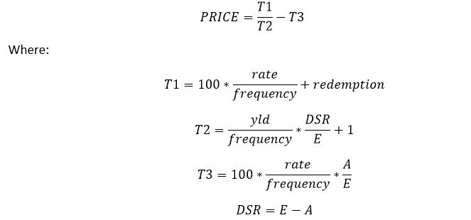 PrIce Formula when N=1