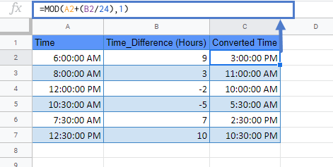 time zone conversion google sheets