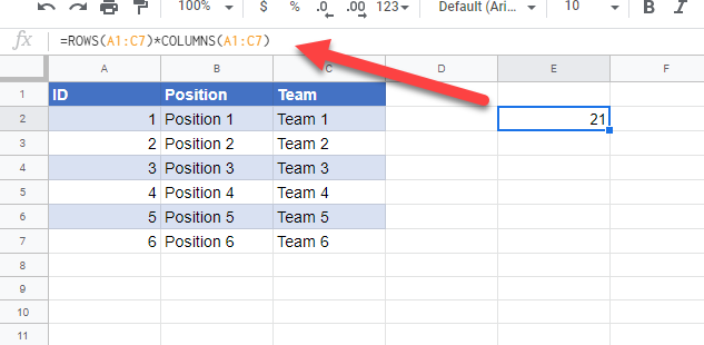 total cells in a range google sheets