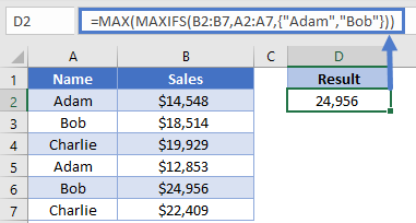 Sales Table MAXIFS Combine