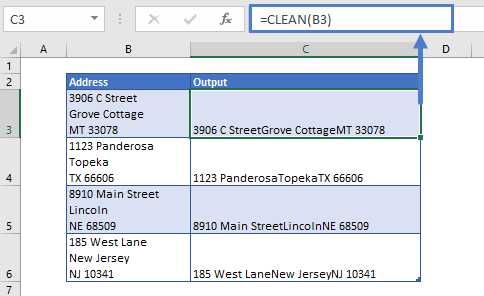 Remove Line Breaks using Clean Function