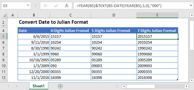 Convert Date to Julian Format in Excel