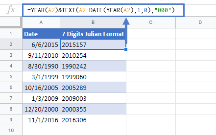 Conversion Date to Julian Format in Google Sheets
