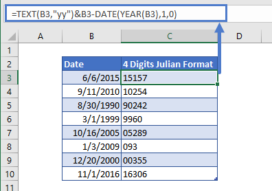 Convert Date to 4 digits Julian Format