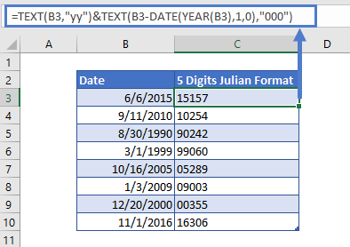 Convert Date to 5 digits Julian Format