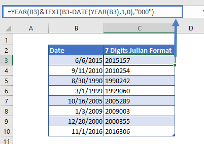 Convert Date to 7 digits Julian Format
