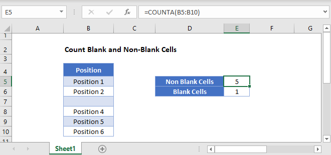 count blank non blank cells main Function