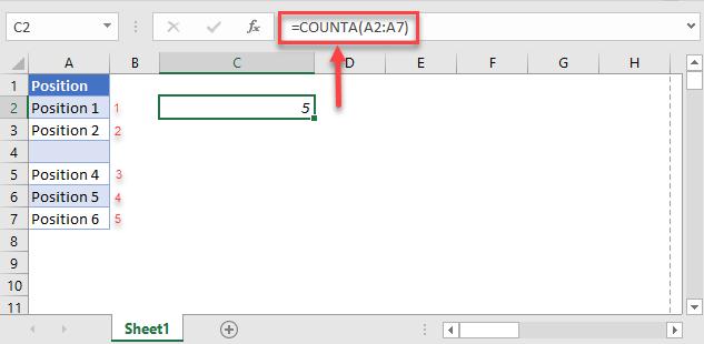 count non blank cells counta function