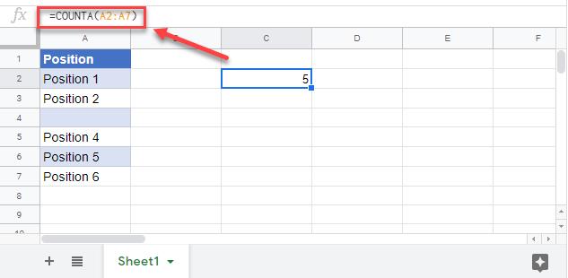 count non blank cells counta google sheets
