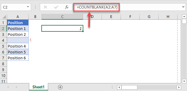 count non blank cells countblank