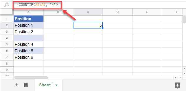 count non blank cells countif google sheets