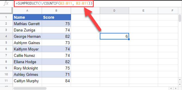 count unique values google sheets