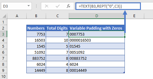 Variable Padding with Zeros in Excel