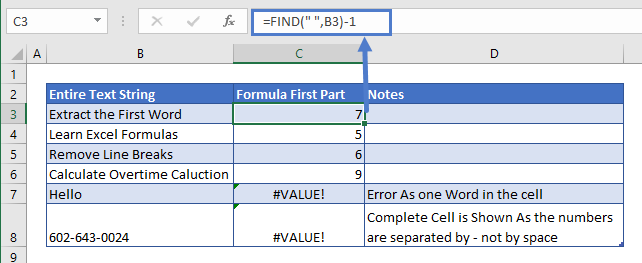 Extract First Word 1st Part of Formula