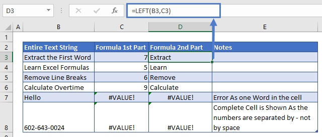 Extract First Word 2nd Part of Formula