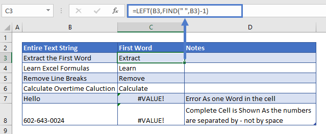 Extract First Word Formula
