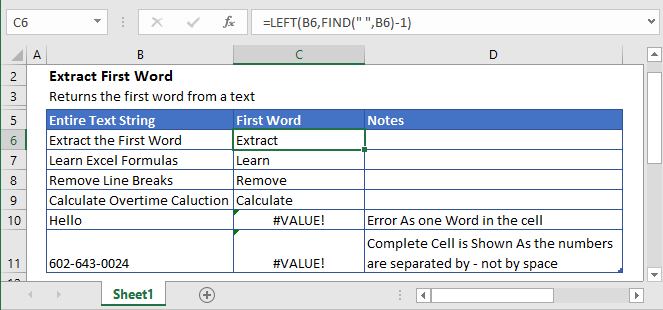 Extract First Word In Excel