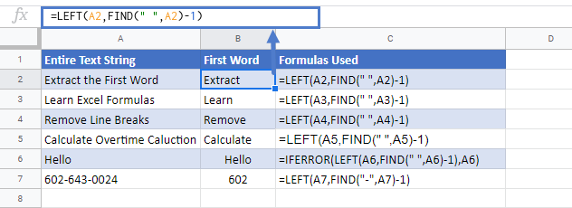Extract First Word In Google Sheets