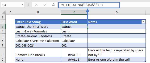 Extract First Word Non Space Separator Formula