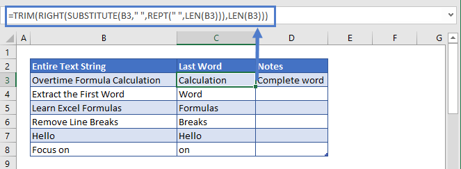 Exctract the Last word using 2nd Formula