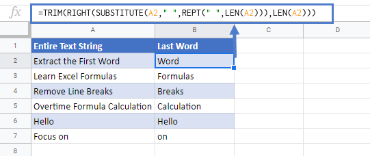Extract last word in google sheets