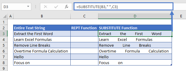 Extract last Word SUBSTITUTE Function usage