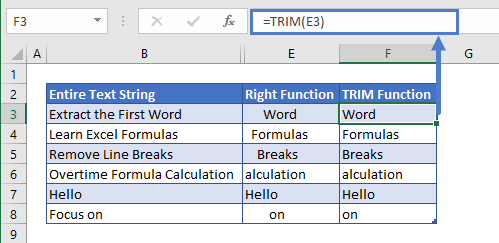 Extract last Word TRIM Function usage