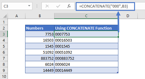 Pad Number With Zeros Using Concatenate Function