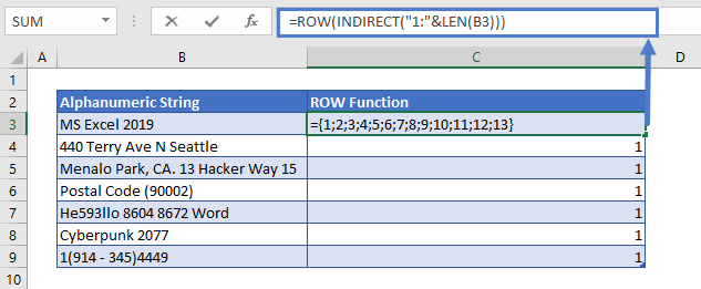 Remove Numbers from Text Row Function