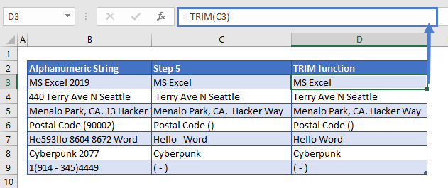 Remove Numbers from Text TRIM Function