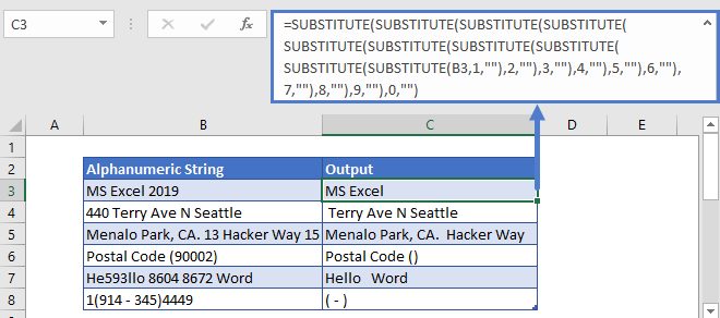 Remove Numbers from Text Substitute Function