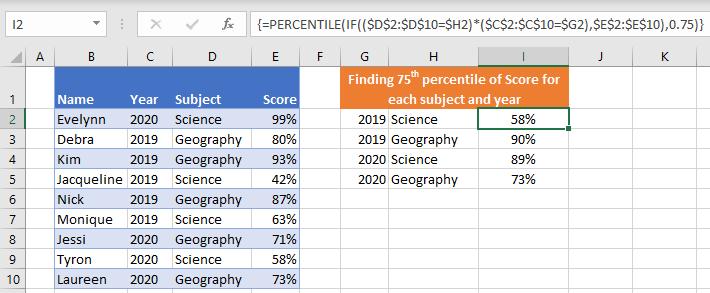 PERCENTILE IFS with multiple criteria