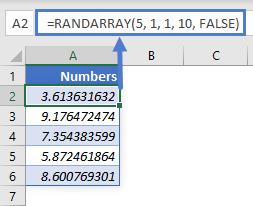 RANDARRAY FALSE