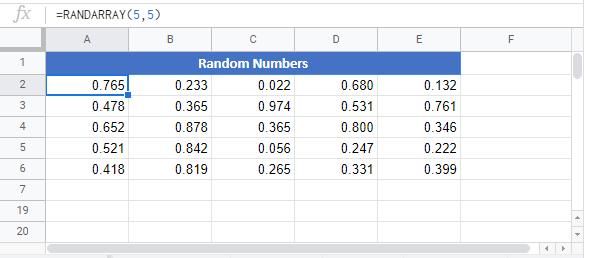 RANDARRAY Google Function
