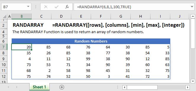 RANDARRAY Main Function