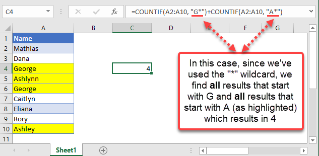 countif excel equal to x or y example wildcard