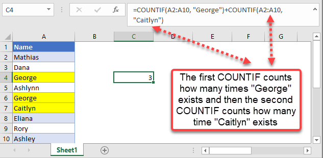 countif excel equal to x or y example