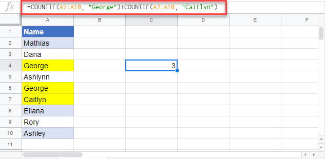 countif excel equal to x or y google sheets 1