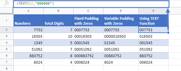 Pad Number With Zeros in Google Sheets