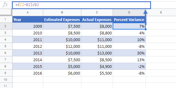 Percent Variance in Google Sheets