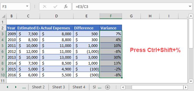 Percent Variance step 4