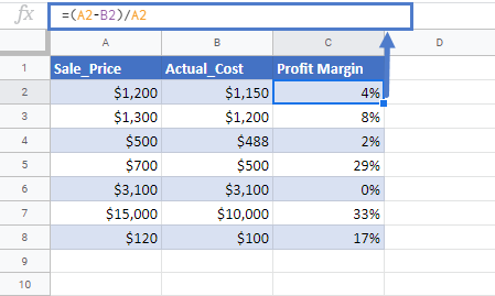 percentage profit margin calculator in google sheets