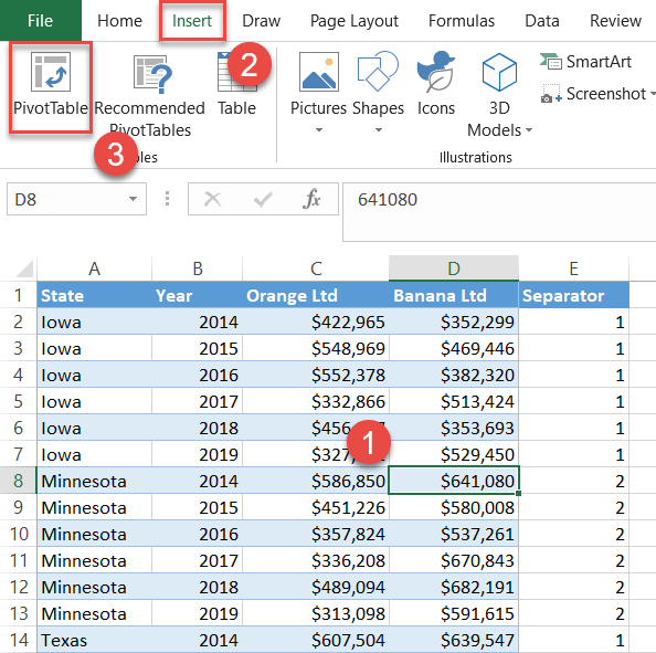 Add a pivot table