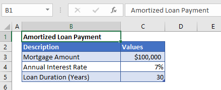 Amortized Payment example data